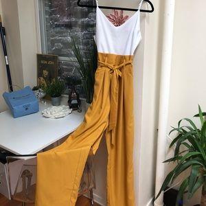 Pants - White & mustard pant jumpsuit